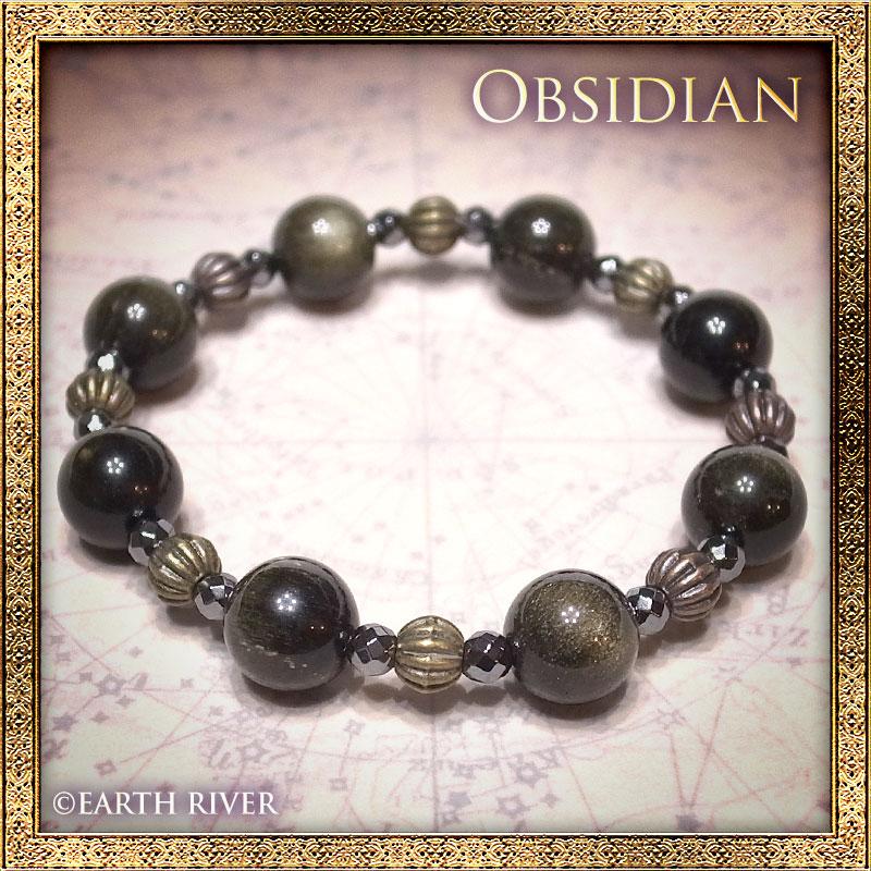 ゴールデンオブシディアン ブレスレット - Reflective Crystal -(14cm)