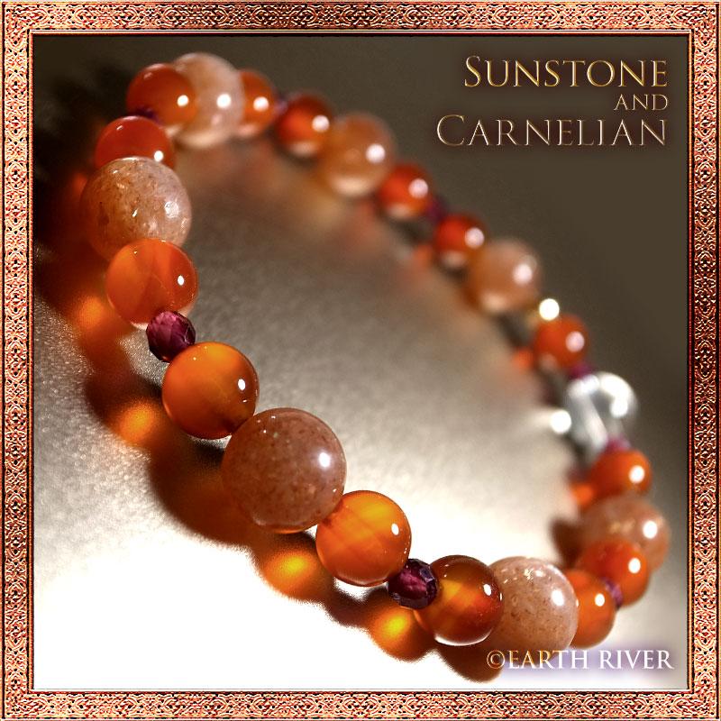 サンストーン カーネリアン ブレスレット 太陽の腕輪